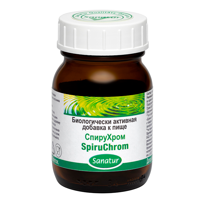 САНАТУР СпируХром, 80 таблеток по 400 мг в стеклянной банке