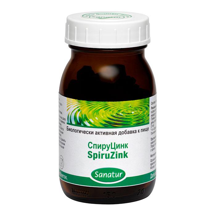 САНАТУР СпируЦинк, 200 таблеток по 400 мг в стеклянной банке