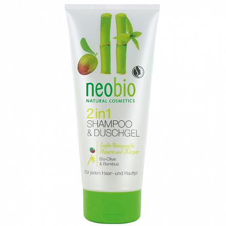 Шампунь-гель 2 в 1 c био-оливой и бамбуком NeoBio, 200 мл.