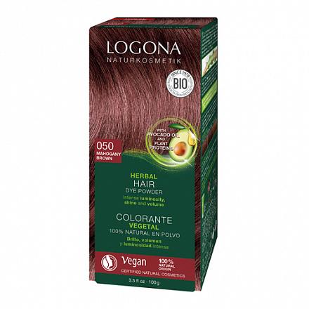 """Растительная краска для волос 050 """"Махагон коричневато-красный"""" Logona, 100 г."""
