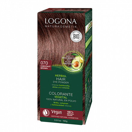 """Растительная краска для волос 070 """"Каштан коричневый"""" Logona, 100 г."""