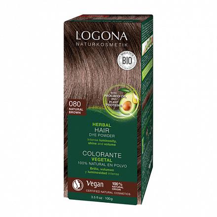 """Растительная краска для волос 080 """"Натурально-коричневый"""" Logona, 100 г."""
