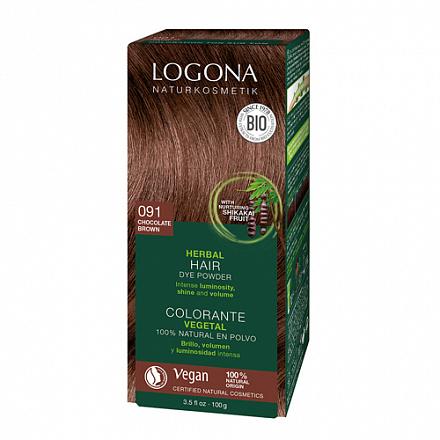 """Растительная краска для волос 091 """"Шоколадно-коричневый"""" Logona, 100 г."""