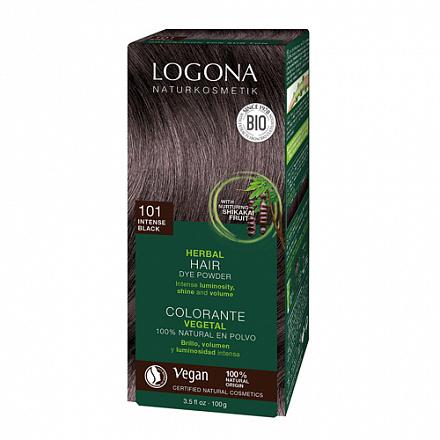 """Растительная краска для волос 101 """"Насыщенно-черный"""" Logona, 100 г."""