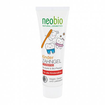 """Гелевая зубная паста для детей """"С био-яблоком и папайей"""", без фтора NeoBio, 50 мл."""