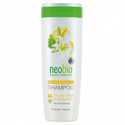 Шампунь для восстановления и блеска волос с био-лилией и морингой NeoBio, 250 мл.