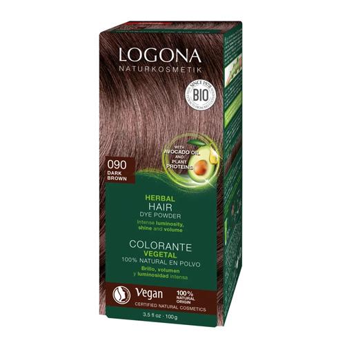 """Растительная краска для волос 090 """"Тёмно-коричневый"""" Logona"""